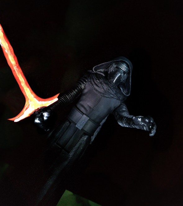 Light Paint on the lightsaber and Kylo
